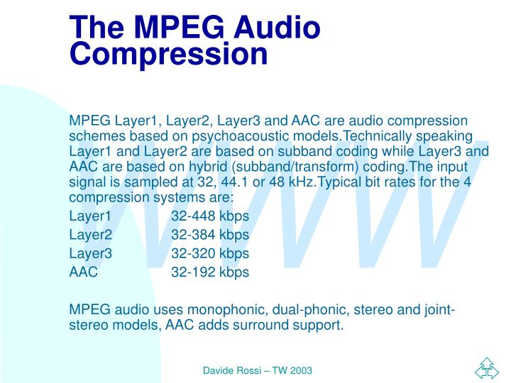 The MPEG Audio Compression