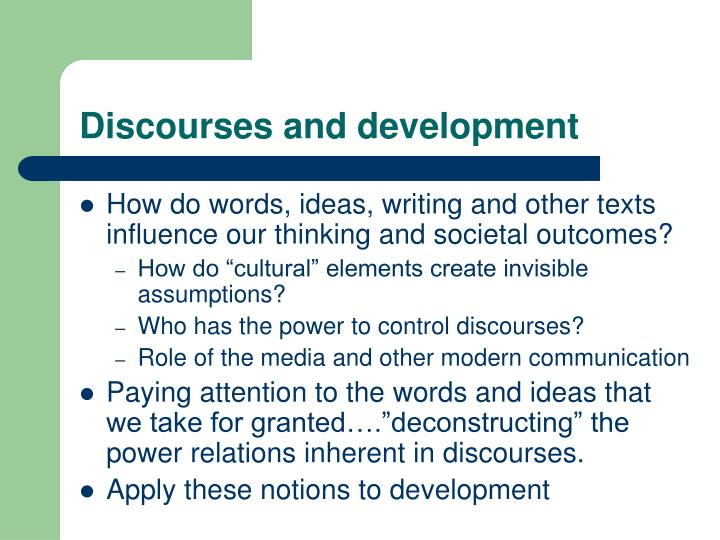 Discourses and development