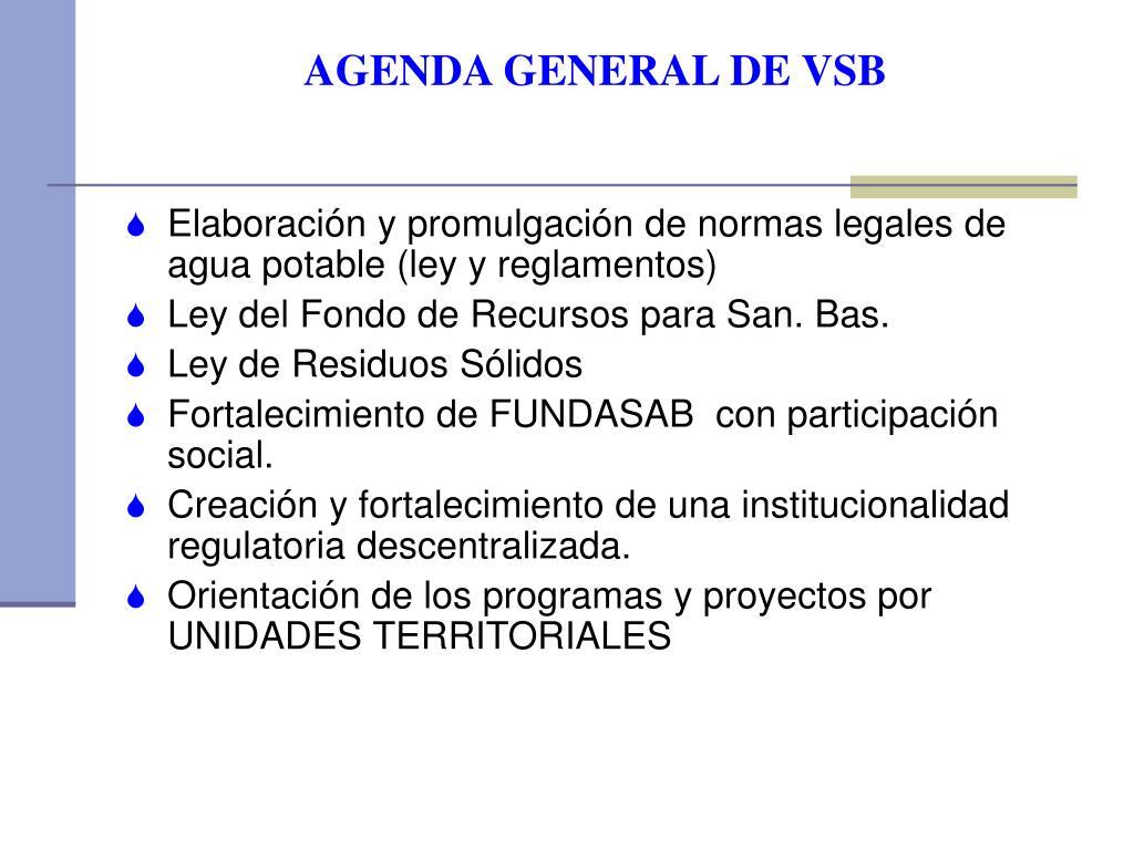 AGENDA GENERAL DE VSB