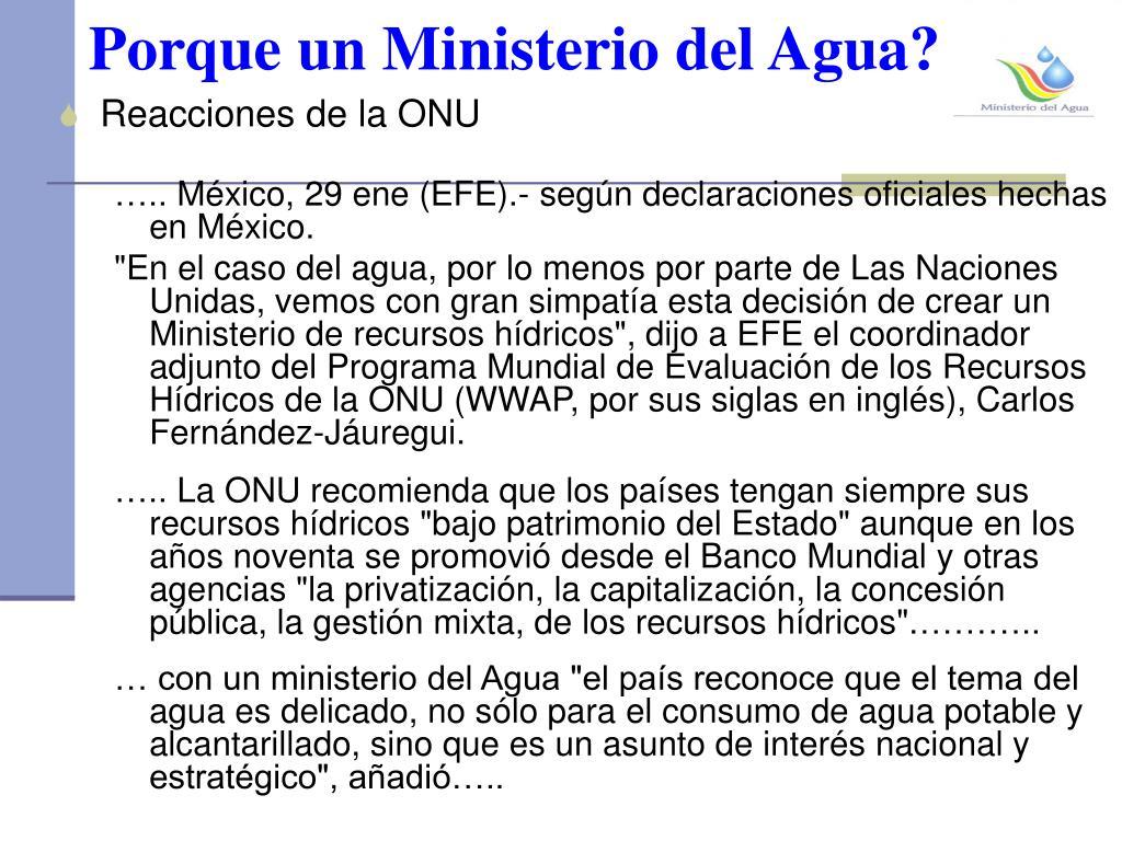Porque un Ministerio del Agua?
