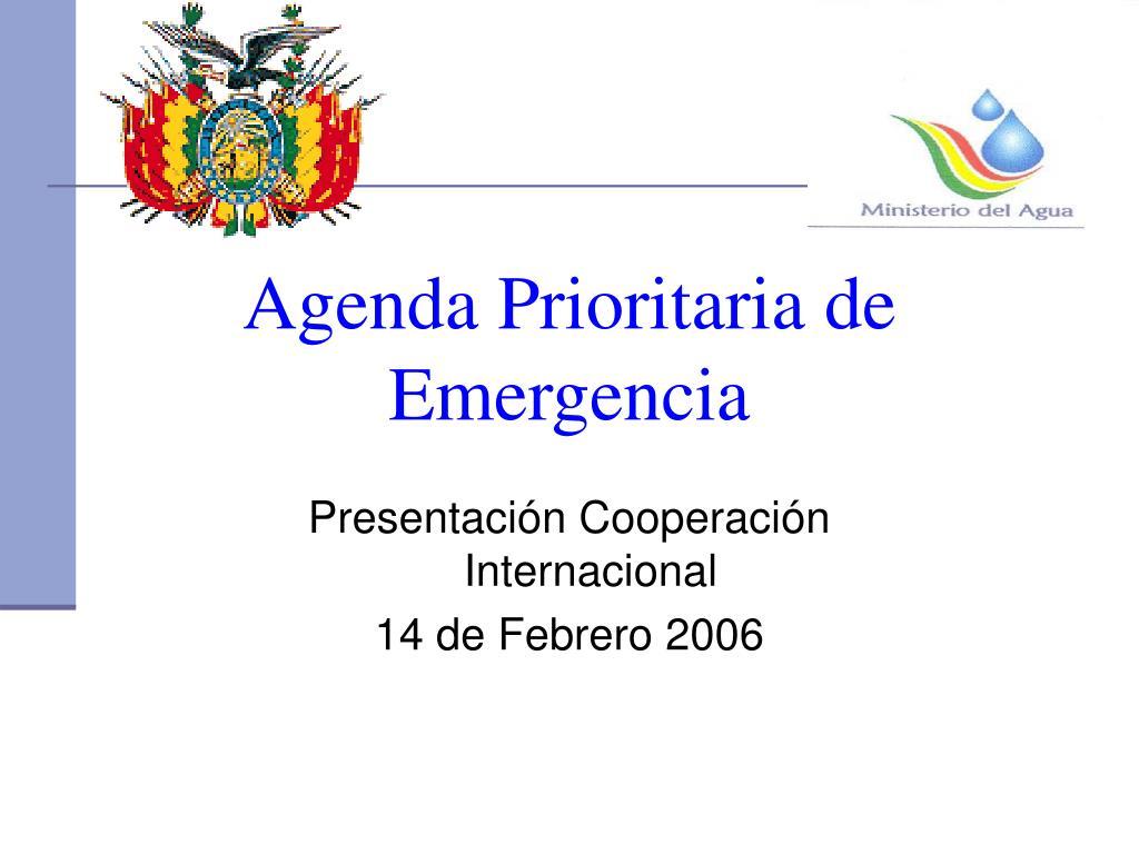 Agenda Prioritaria de Emergencia