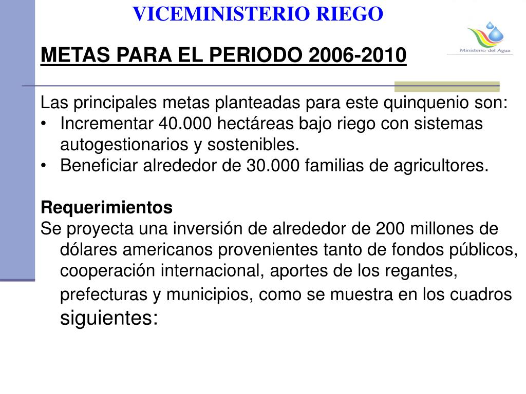 VICEMINISTERIO RIEGO