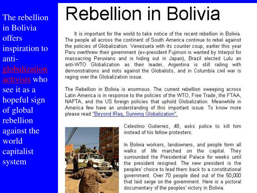 The rebellion in Bolivia offers inspiration to anti-