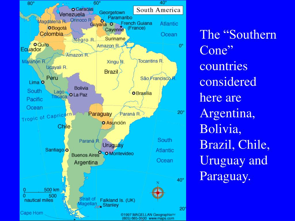 "The ""Southern Cone"" countries considered here are Argentina, Bolivia, Brazil, Chile, Uruguay and Paraguay."