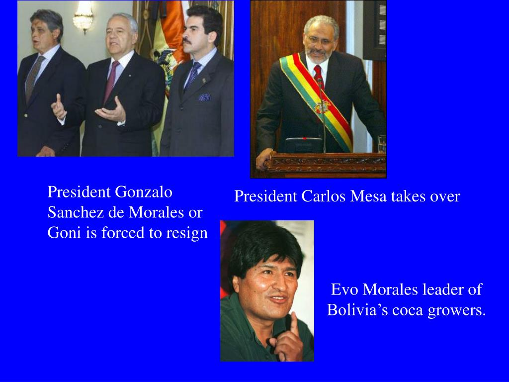 President Gonzalo Sanchez de Morales or Goni is forced to resign