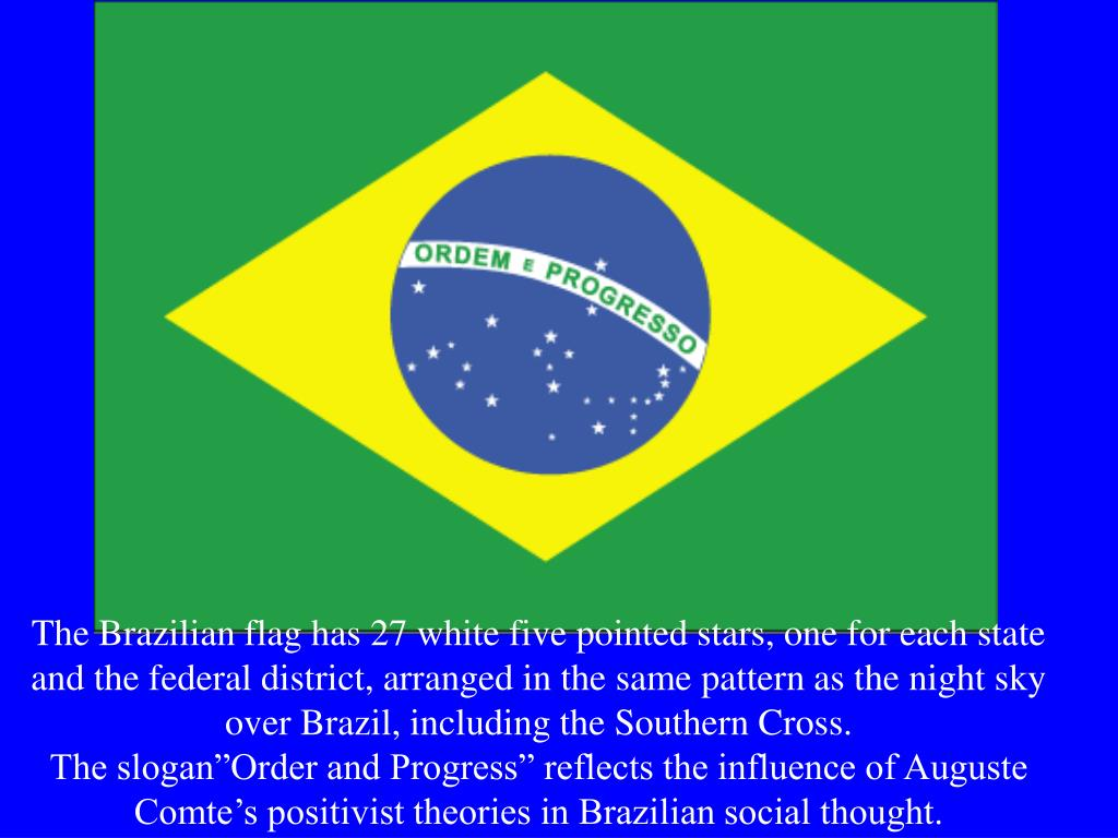 The Brazilian flag has 27 white five pointed stars, one for each state and the federal district, arranged in the same pattern as the night sky over Brazil, including the Southern Cross.