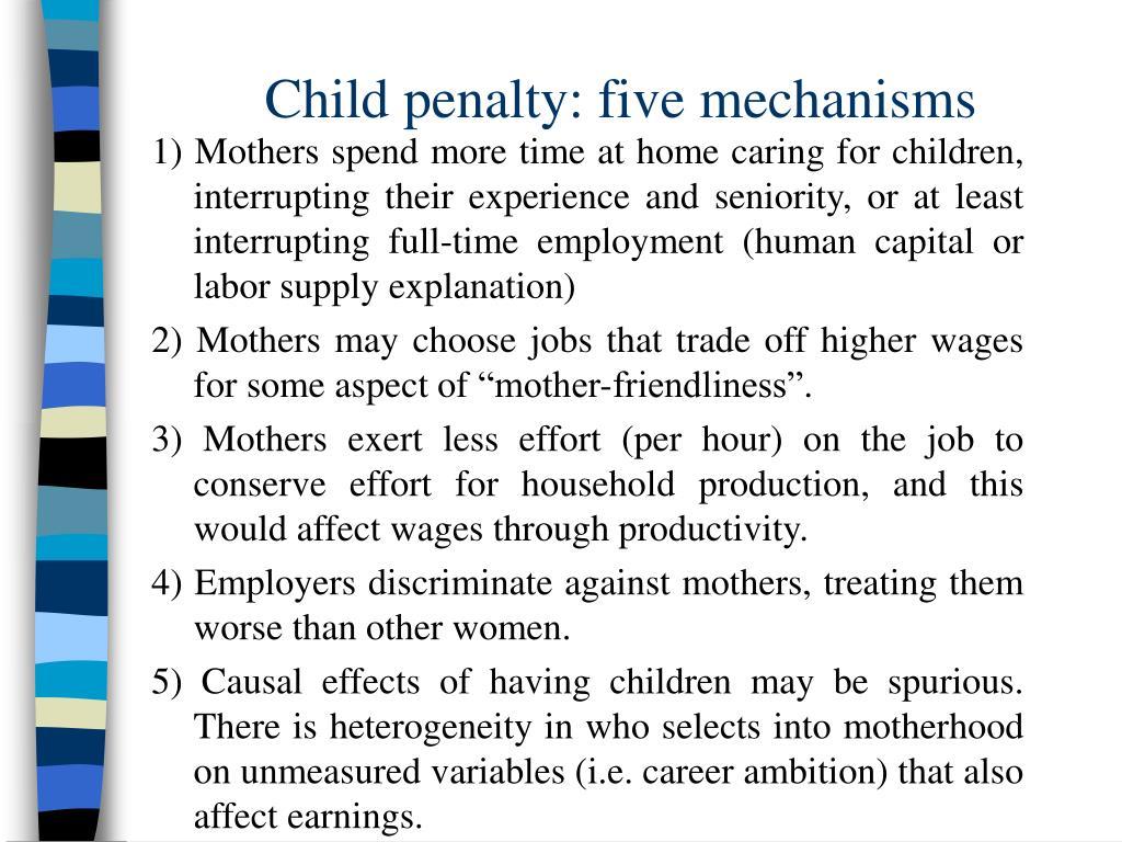 Child penalty: five mechanisms