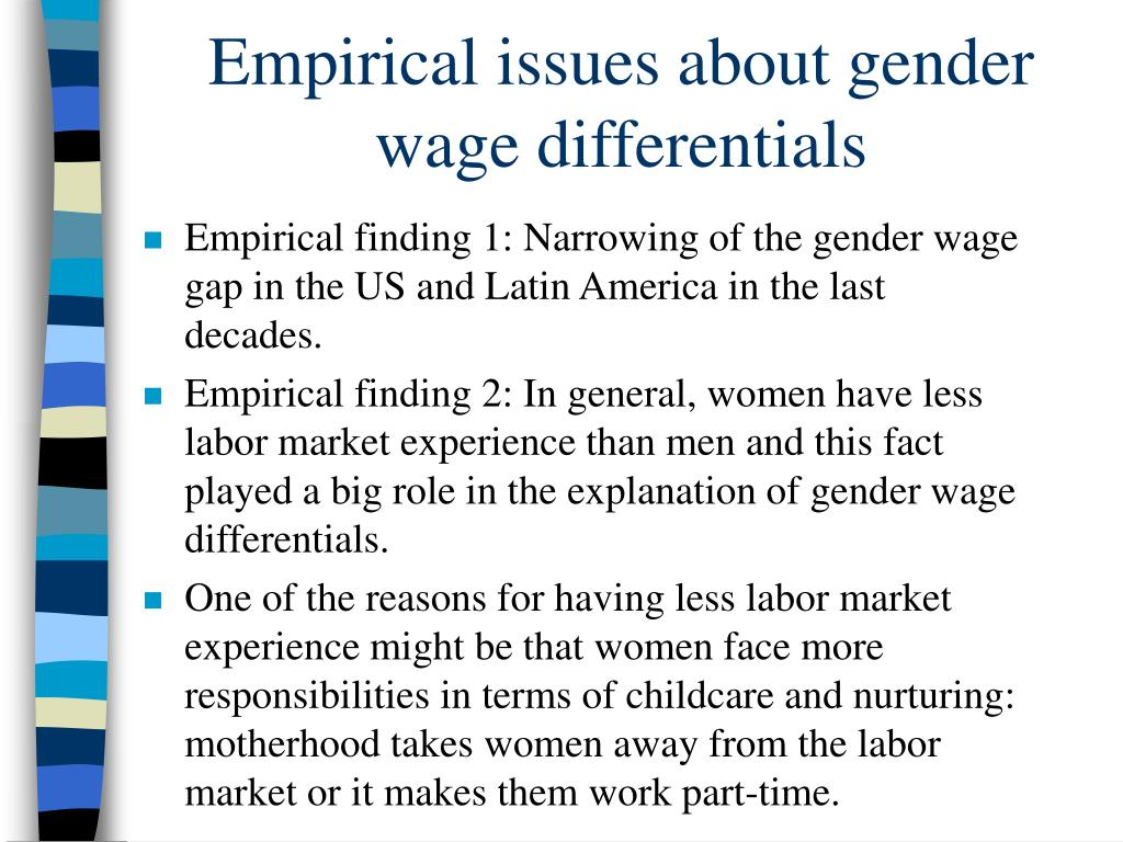 Empirical issues about gender wage differentials