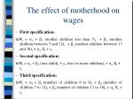 the effect of motherhood on wages