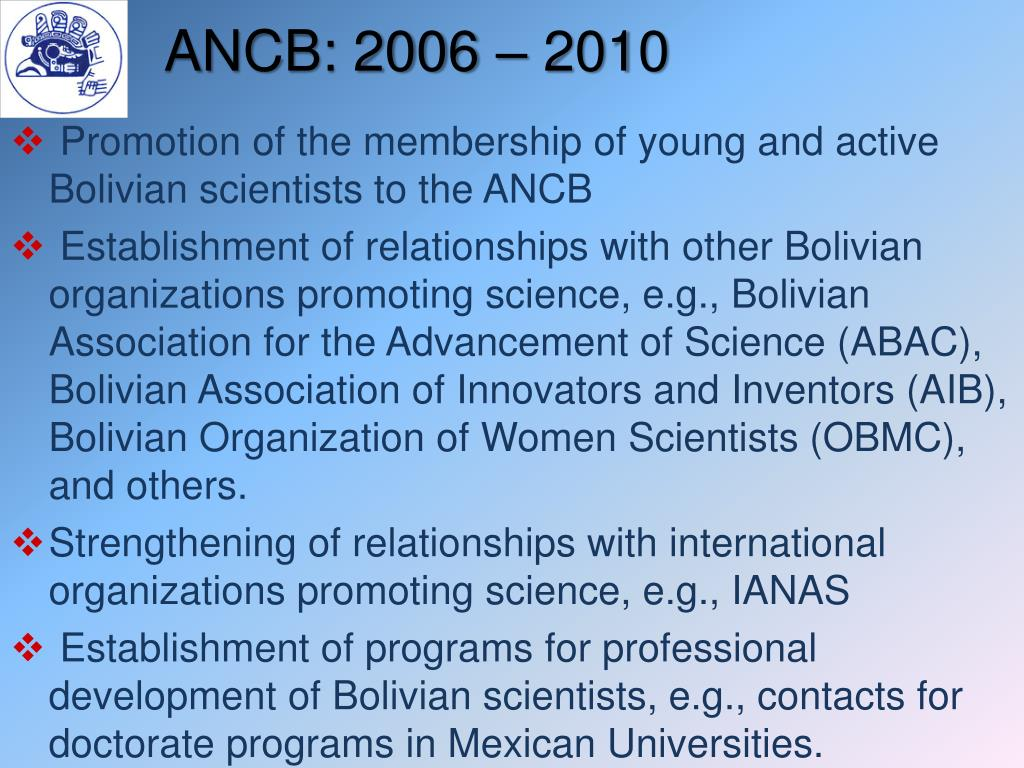 ANCB: 2006 – 2010