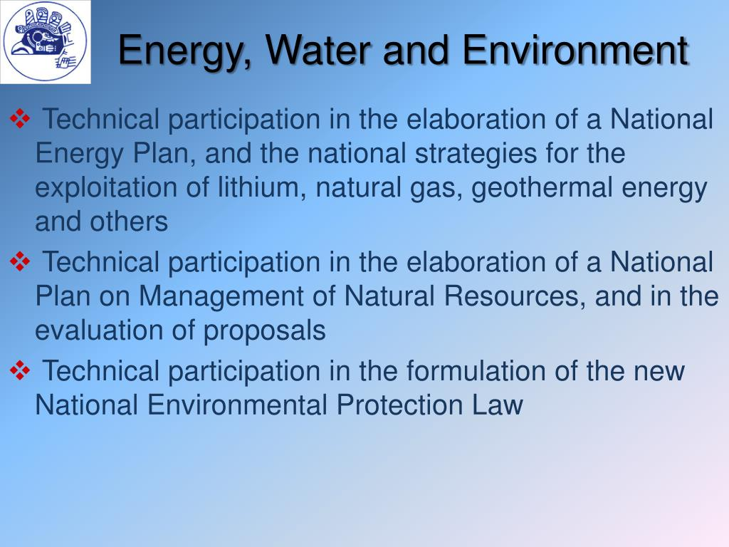 Energy, Water and Environment