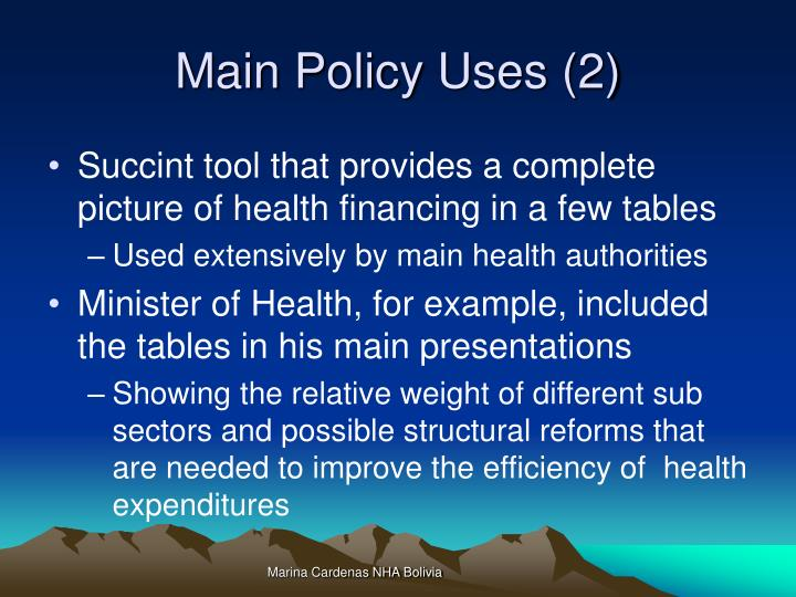 Main policy uses 2