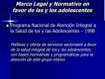 marco legal y normativo en favor de las y los adolescentes22