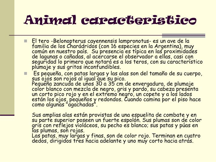 Animal caracteristico