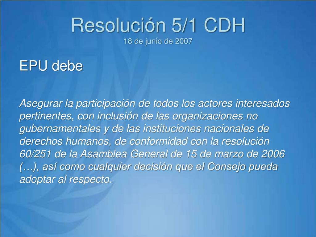 Resolución 5/1 CDH