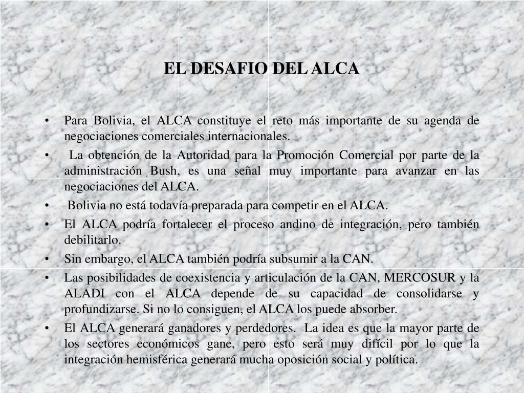 EL DESAFIO DEL ALCA