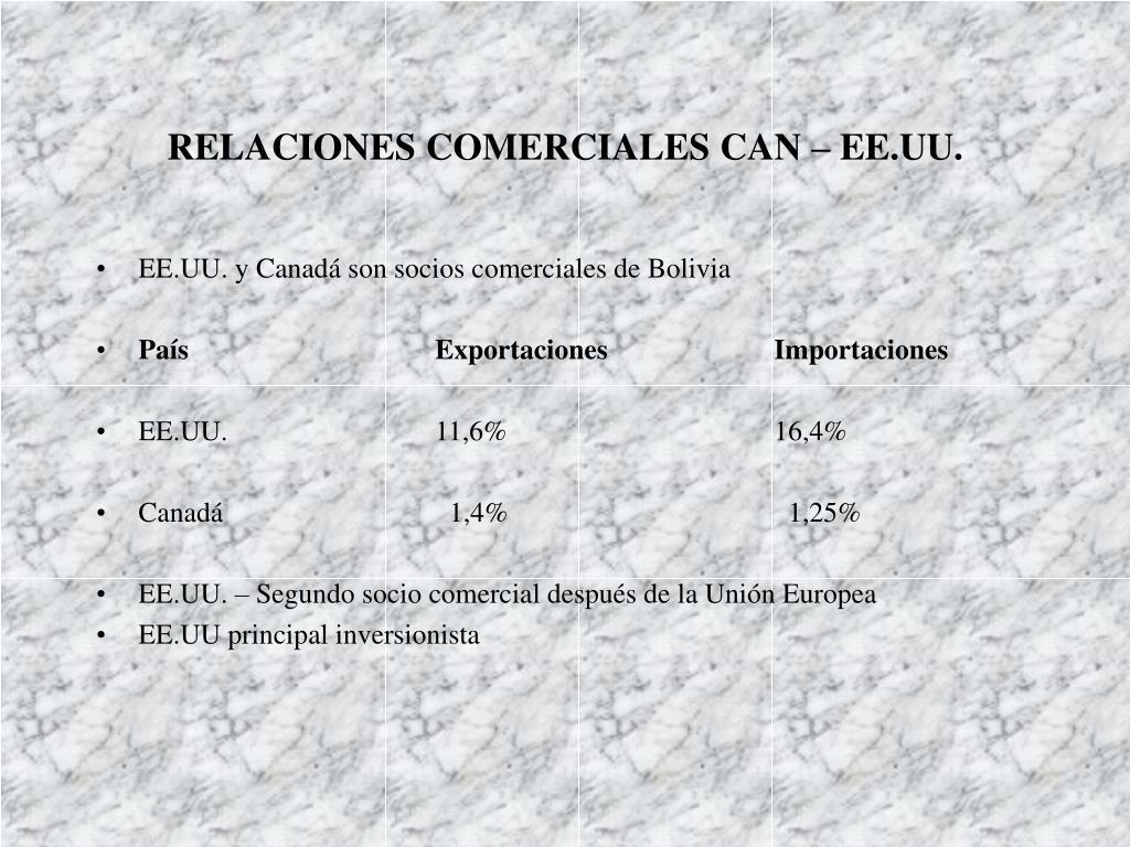 RELACIONES COMERCIALES CAN – EE.UU.