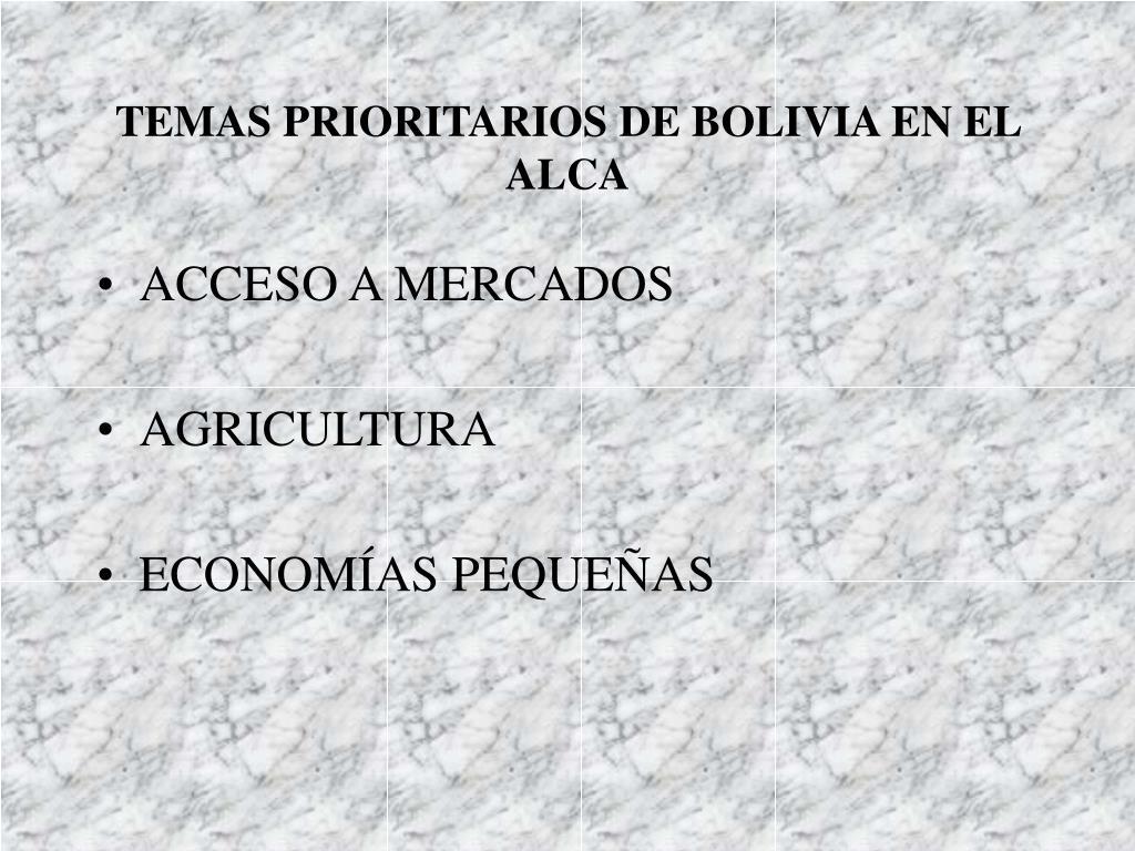 TEMAS PRIORITARIOS DE BOLIVIA EN EL ALCA