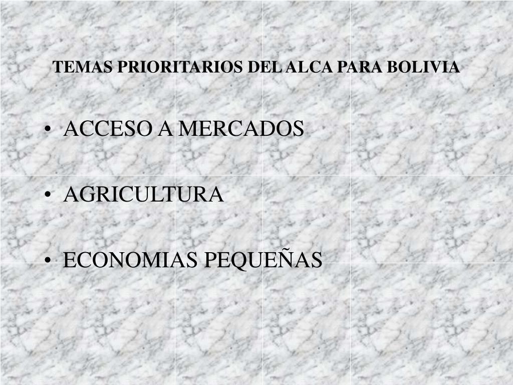 TEMAS PRIORITARIOS DEL ALCA PARA BOLIVIA