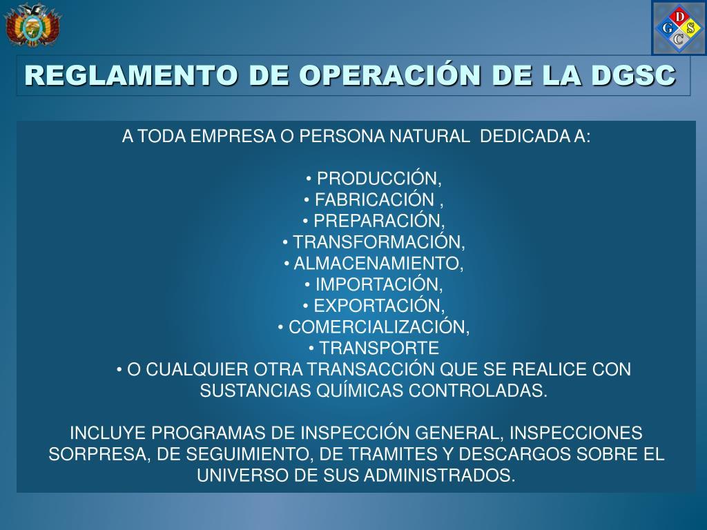 REGLAMENTO DE OPERACIÓN DE LA DGSC
