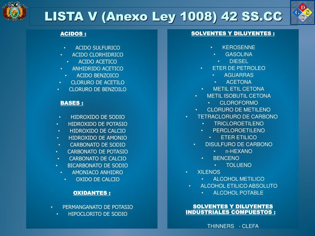 LISTA V (Anexo Ley 1008) 42 SS.CC