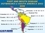 foot and mouth disease outbreaks in south america 2002 2006