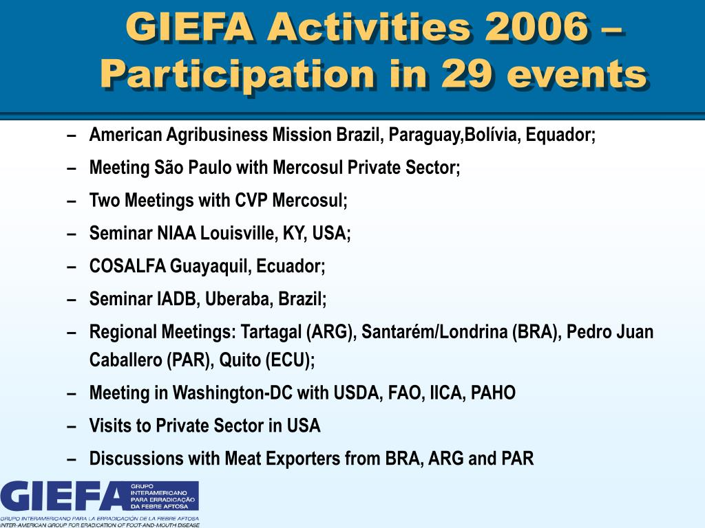 GIEFA Activities 2006 – Participation in 29 events