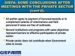 giefa some conclusions after meetings with the private sector cont d