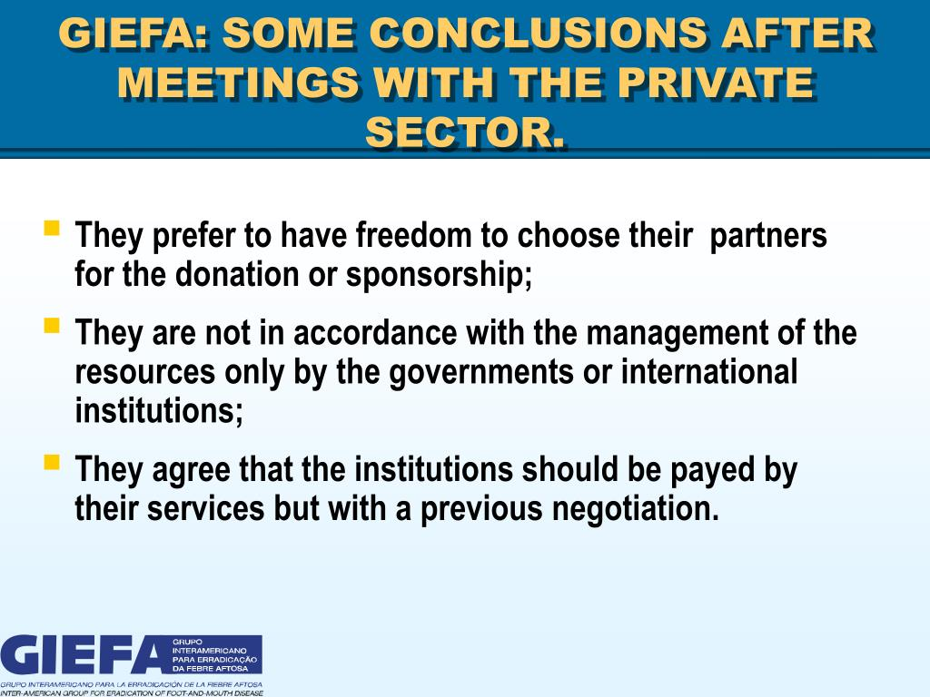 GIEFA: SOME CONCLUSIONS AFTER MEETINGS WITH THE PRIVATE SECTOR.