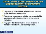 giefa some conclusions after meetings with the private sector