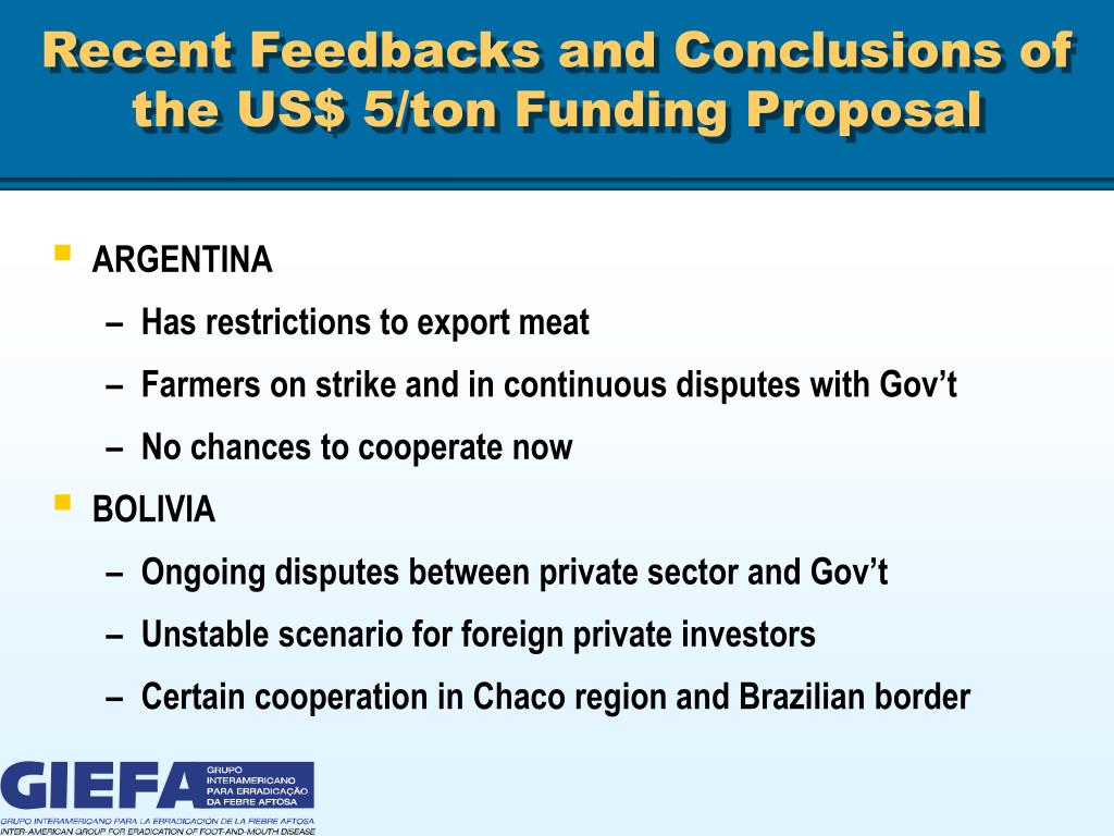 Recent Feedbacks and Conclusions of the US$ 5/ton Funding Proposal