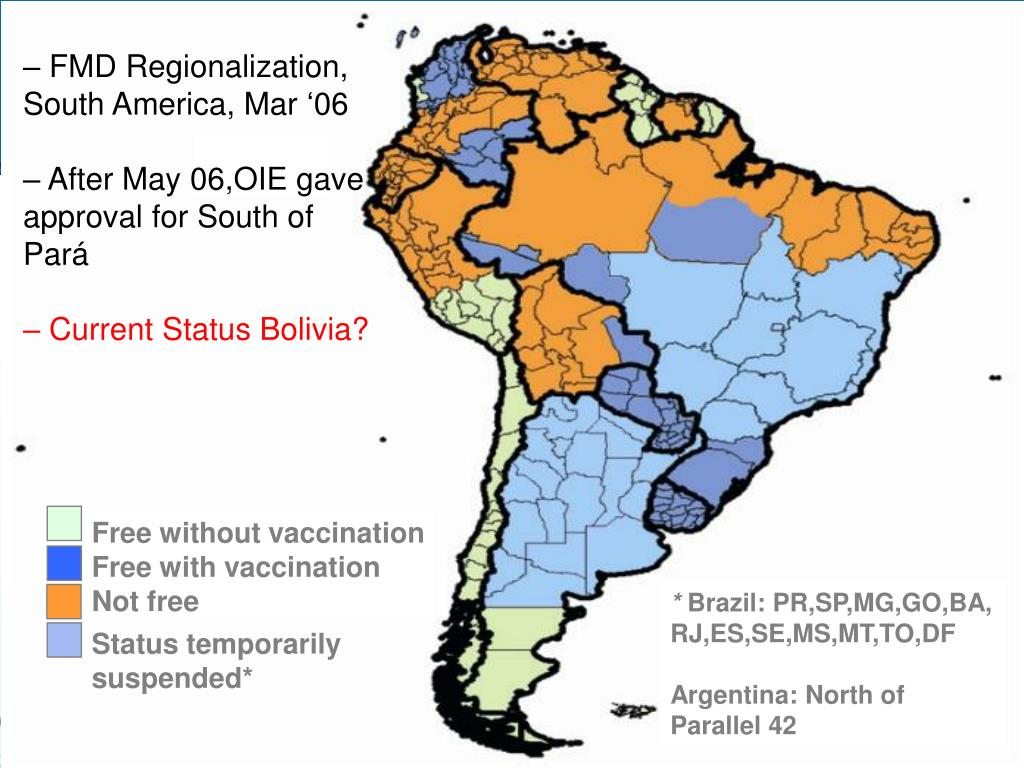 FMD Regionalization,  South America, Mar '06