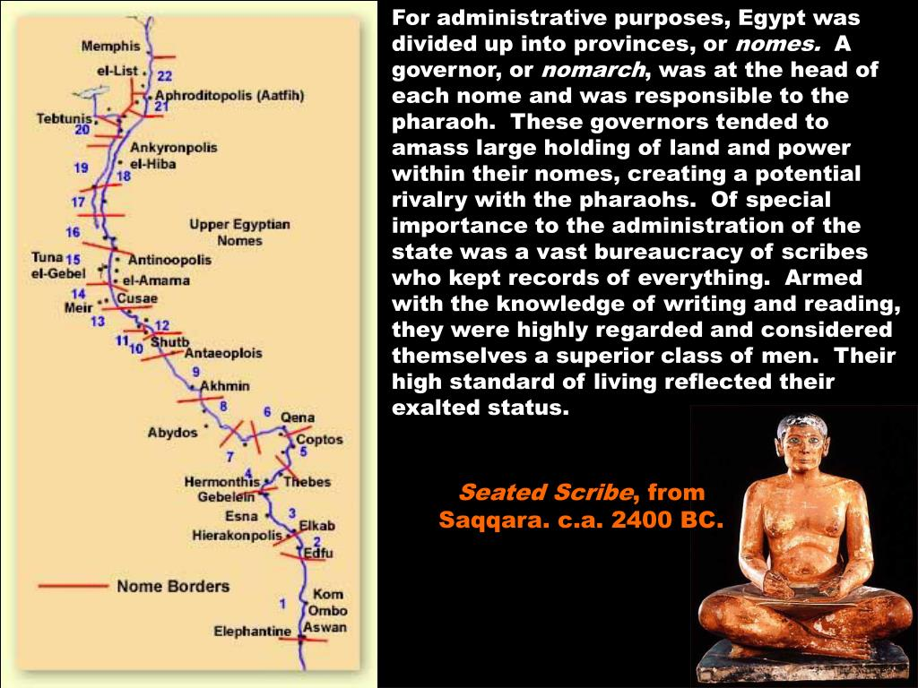 For administrative purposes, Egypt was divided up into provinces, or