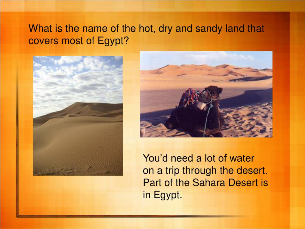 What is the name of the hot, dry and sandy land that covers most of Egypt?