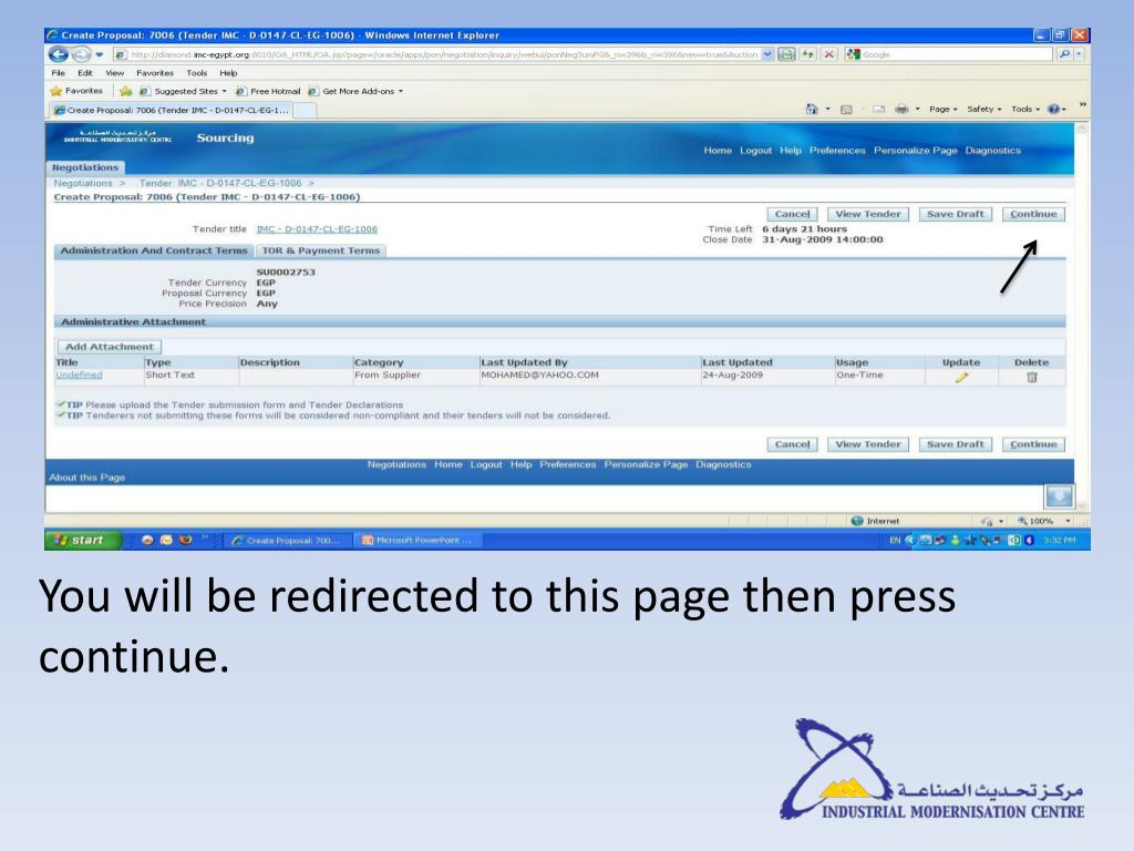 You will be redirected to this page then press continue.