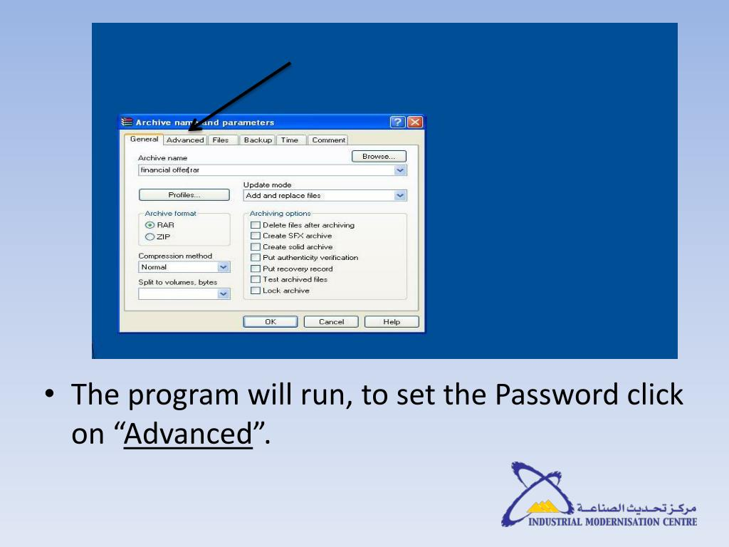 The program will run, to set the Password click on ""