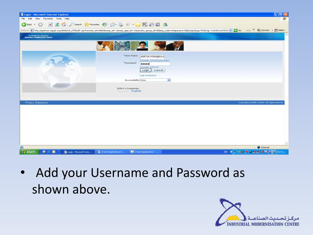 Add your Username and Password as shown above.