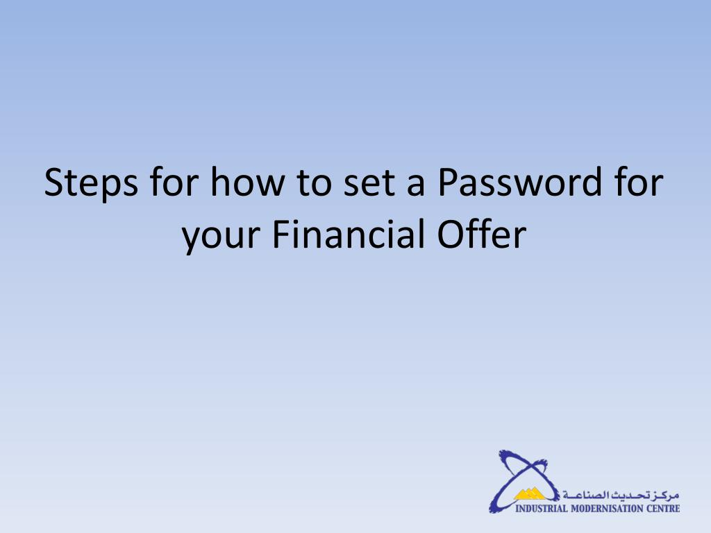 Steps for how to set a Password for your Financial Offer