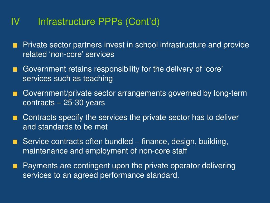 IVInfrastructure PPPs (Cont'd)