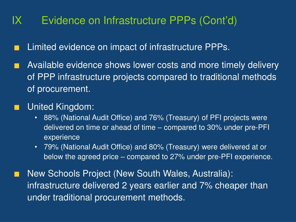 IXEvidence on Infrastructure PPPs (Cont'd)