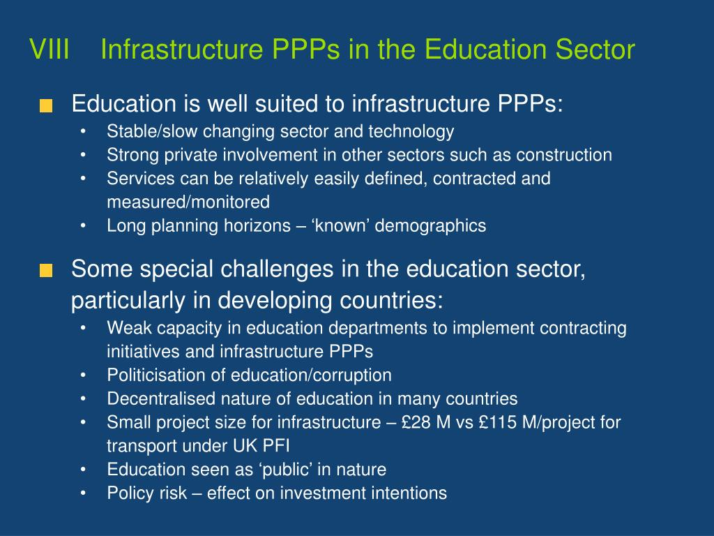 VIIIInfrastructure PPPs in the Education Sector