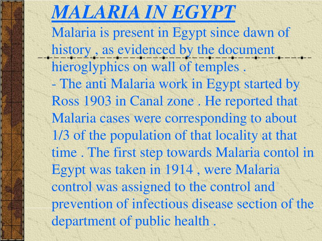 MALARIA IN EGYPT