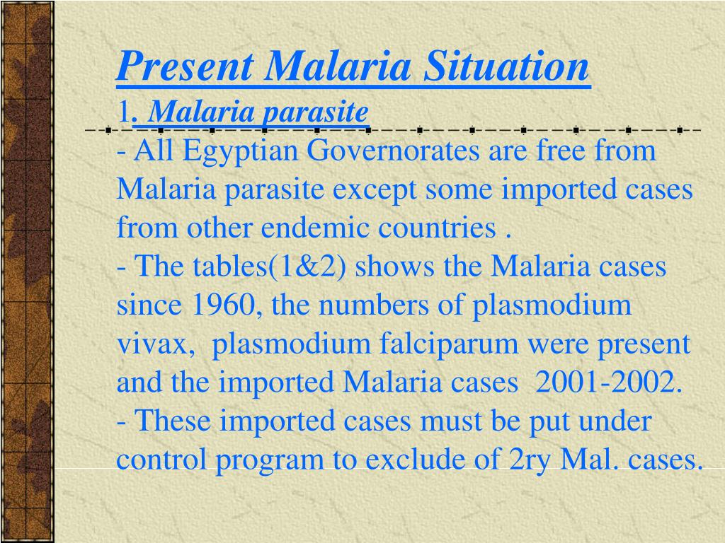 Present Malaria Situation