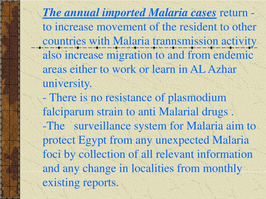 The annual imported Malaria cases