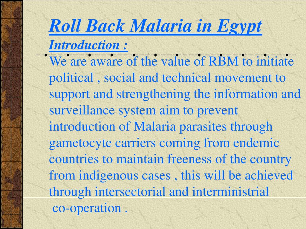 Roll Back Malaria in Egypt