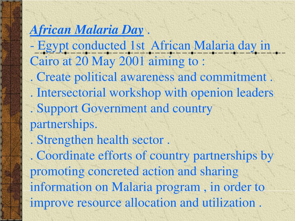 African Malaria Day