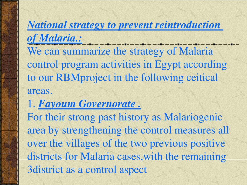 National strategy to prevent reintroduction of Malaria.: