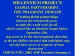 millennium project global partnerships the pragmatic demand