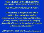 the clash of civilisations religious and ethnic conflicts the millennium project text