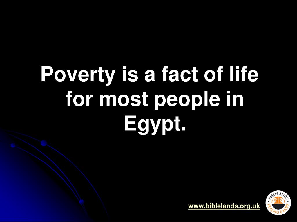 Poverty is a fact of life for most people in Egypt.